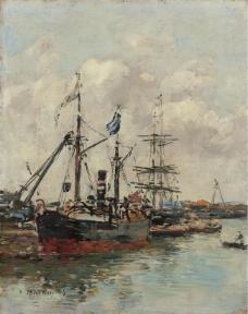 Eugene Boudin  - Trouville, the Port, 1894.jpeg大师画家风景画静物油画建筑油画装饰画