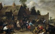 Teniers, David - Fiesta y comida de aldeanos, 1637大师画家古典画古典建筑古典景物装饰画油画