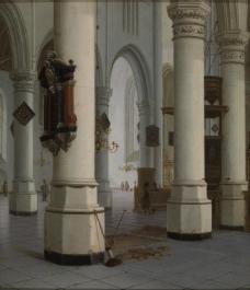 Hendrick Cornelisz Van Vliet - Interior of the Nieuwe Kerk , new Church, in Delft大师画家古典画古典建筑古典景物装饰画油