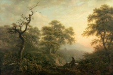 Pocock, Nicholas - Paisaje con figura a caballo, 1787大师画家古典画古典建筑古典景物装饰画油画