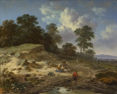Jan Wijnants - A Track by a Dune, with Peasants and a Horseman大师画家古典画古典建筑古典景物装饰画油画