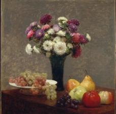 方丹 拉图尔 桌上的翠菊与水果图片
