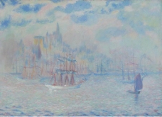 Theodore Earl Butler - Ships in the New York Harbor, 1907大师画家风景画静物油画建筑油画装饰画