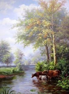 330 (104)风景建筑田园植物水景田园印象画派写实主义油画装饰画