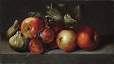 Espinosa, Juan de - Manzanas, higos y ciruelas, Segundo tercio del 17 Century静物水果瓜果蔬菜器皿食物印象画派写实主义油画装