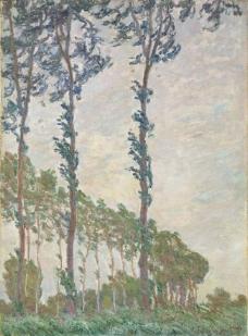 Wind Effect, Sequence of Poplars, 1891法国画家克劳德.莫奈oscar claude Monet风景油画装饰画