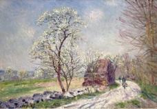 Alfred Sisley - Landscape with Blooming Trees, 1889大师画家风景画静物油画建筑油画装饰画