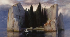 Arnold Bocklin - Die Toteninsel大师画家古典画古典建筑古典景物装饰画油画