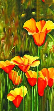 漂亮的郁金香油画图片