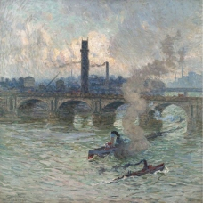 Emile Claus - Streamboats on the Thames, 1916.jpeg大师画家风景画静物油画建筑油画装饰画