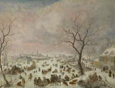 Jan Griffier I - Winter Pleasures大师画家古典画古典建筑古典景物装饰画油画