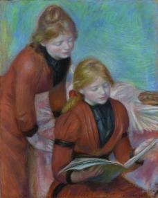 Pierre Auguste Renoir - Reading, 1889法国画家皮埃尔奥古斯特雷诺阿Pierre Auguste Renoir印象派人物油画