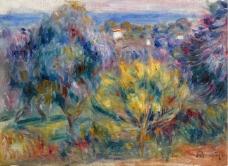 Pierre Auguste Renoir - Landscape with a View on the Sea法国画家皮埃尔奥古斯特雷诺阿Pierre Auguste Renoir印象派人物油画