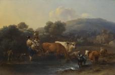 Nicolaes Berchem - Peasants with Cattle fording a Stream大师画家古典画古典建筑古典景物装饰画油画