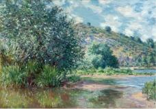 Claude Monet - Landscape at Port-Villez, 1885法国画家克劳德.莫奈oscar claude Monet风景油画装饰画