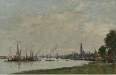 Eugene Boudin - Anvers, the Port, View to the North Citadel, 1971.jpeg大师画家风景画静物油画建筑油画装饰画