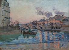 Armand Guillaumin - Paris, the Bridge of Marie, 1882大师画家风景画静物油画建筑油画装饰画