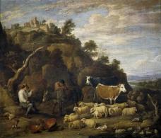Teniers, David - Coloquio pastoril大师画家古典画古典建筑古典景物装饰画油画