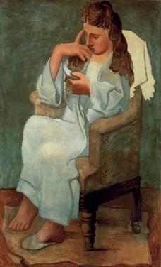1920 La liseuse [Femme en gris_ femme assise lisant]西班牙画家巴勃罗毕加索抽象油画人物人体油画装饰画