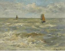Eugene Boudin - Boats in the Sea, 1888-95.jpeg大师画家风景画静物油画建筑油画装饰画