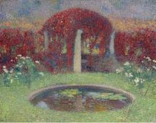 Henri Martin - The Pool and the Arbour, 1910大师画家风景画静物油画建筑油画装饰画