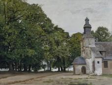 Claude Monet - The Chapel of Notre-Dame-de-Grace, Honfleur, 1864.jpeg大师画家风景画静物油画建筑油画装饰画