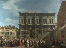 Canaletto - Venice - The Feast Day of Saint Roch大师画家古典画古典建筑古典景物装饰画油画