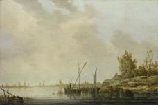 Aelbert Cuyp - A River Scene with Distant Windmills大师画家古典画古典建筑古典景物装饰画油画