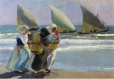 Joaquin Sorolla y Bastida - Three Sails, 1903大师画家风景画静物油画建筑油画装饰画