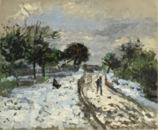 Pierre Auguste Renoir - Snowy Landscape, 1875法国画家皮埃尔奥古斯特雷诺阿Pierre Auguste Renoir印象派人物油画