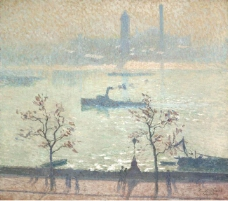 Emile Claus - View of the Thames from the Embankment, 1919.jpeg大师画家风景画静物油画建筑油画装饰画