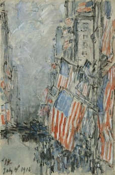 Frederick Childe Hassam - Flag Day, Fifth Avenue, July 4th, 1916大师画家风景画静物油画建筑油画装饰画