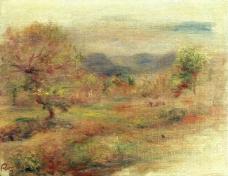 Pierre Auguste Renoir - Landscape in Red, 1900-10法国画家皮埃尔奥古斯特雷诺阿Pierre Auguste Renoir印象派人物油画