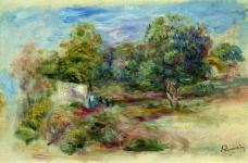 Pierre Auguste Renoir - Landscape with House (etude), 1913法国画家皮埃尔奥古斯特雷诺阿Pierre Auguste Renoir印象派人物油画