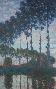 Poplars on the banks of the Epte, Evening Effect, 1891法国画家克劳德.莫奈oscar claude Monet风景油画装饰画