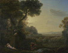 Claude - Landscape with Narcissus and Echo大师画家古典画古典建筑古典景物装饰画油画