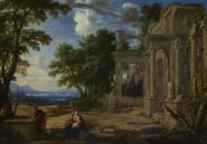 Pierre Patel - Landscape with the Rest on the Flight into Egypt大师画家古典画古典建筑古典景物装饰画油画
