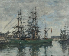 Eugene Boudin - Basin of Deauville, 1878.jpeg大师画家风景画静物油画建筑油画装饰画