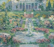 Frank Townsend Hutchens - New England Garden, 1923大师画家风景画静物油画建筑油画装饰画