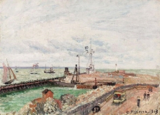 Camille Pissarro - The Pier and the Semaphore of Havre, 1903大师画家风景画静物油画建筑油画装饰画