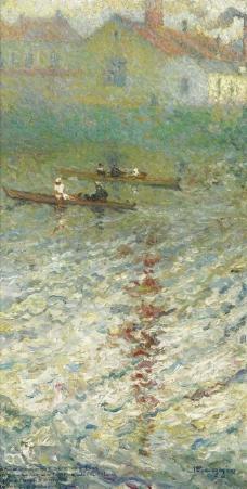 Emilio Boggio - Boats on the Lake, 1914.jpeg大师画家风景画静物油画建筑油画装饰画