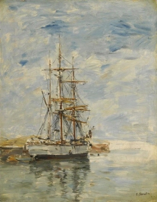 Eugene Boudin - Anchored Three-Master, 1894-97.jpeg大师画家风景画静物油画建筑油画装饰画