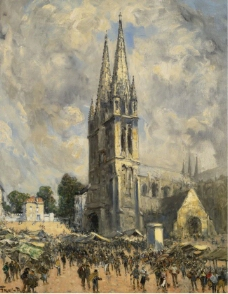 Frank Myers Boggs - The Church in Normandie大师画家风景画静物油画建筑油画装饰画