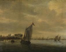 Salomon Ruysdael - Calm water大师画家古典画古典建筑古典景物装饰画油画