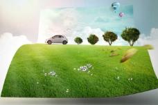 草地上的绿树汽车