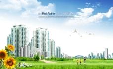 城市楼群和向日葵