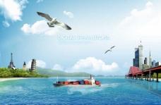 海上货轮和飞鸟
