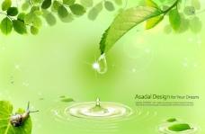 绿色背景PSD分层素材