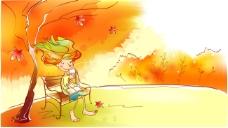 秋天故事插画之坐在树下长椅拿着水杯的精灵