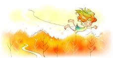 秋天故事插画之在秋天树林上空飞翔的精灵